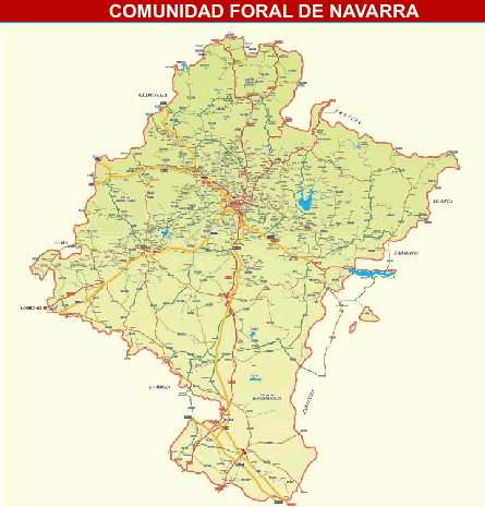 Mapa De Navarra Carreteras.Mapa Navarra Pueblos Y Carreteras De Navarra Multiplanos Com